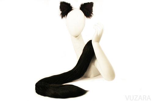 "30"" Black Cat Tail & Ears Set"