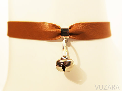 Brown Faux Leather Choker Collar