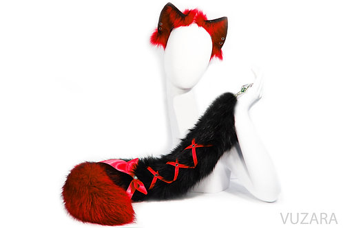 Red / Black Ombre Tail & Ears
