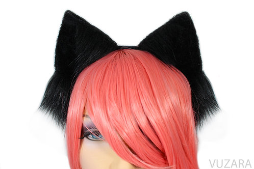 Black Cat Ears / Fox Ears- Poseable