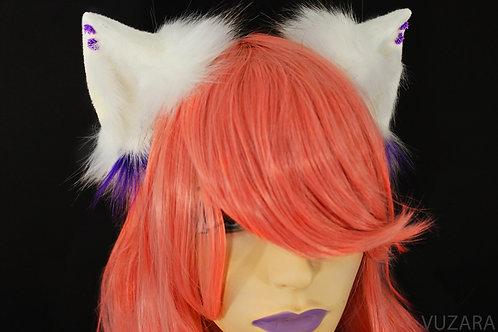 White & Purple Fox Ears / Cat Ears- Poseable