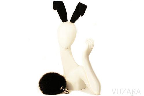 "7"" Black Bunny Tail & Ears Set"