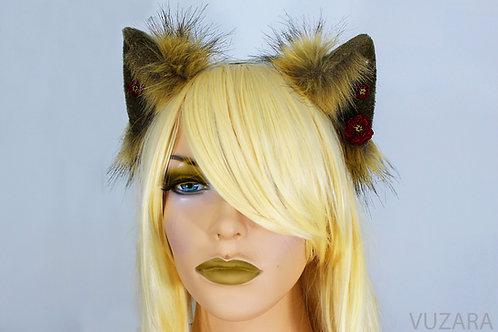 Floral Brown & Tan Fox Ears / Cat Ears- Poseable