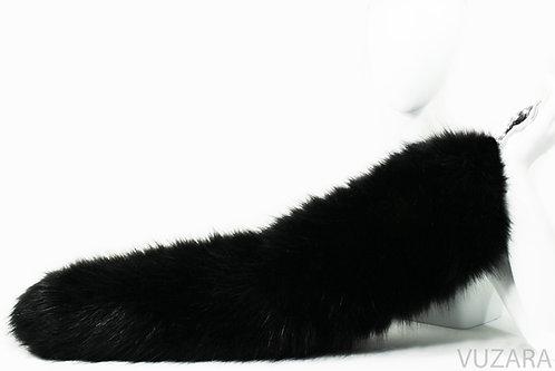 "28"" Faux Fluffies Black Fox Tug Tail"