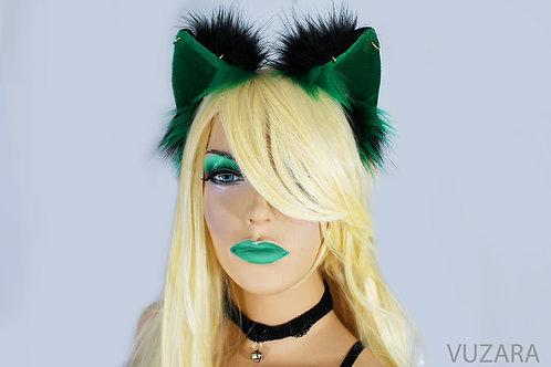 Black & Green Fox Ears / Cat Ears- Poseable