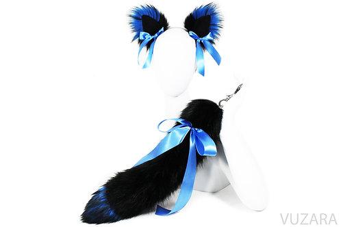 """20"""" Blue/Black Ribbon Tug Tail & Ears Set"""