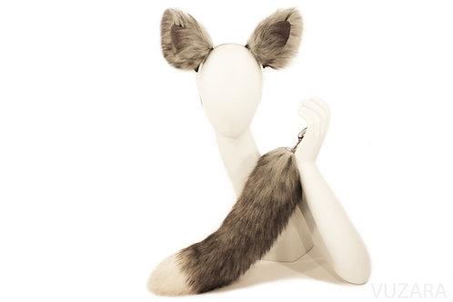 Faux Grey Fox Tail Ears Set