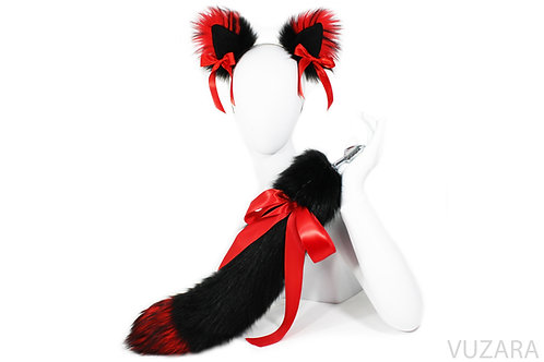 "20"" Faux Black/Red Ribbon Tail Ears Set"