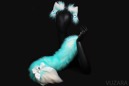Blue Ombre Fox Tug Tail & Wired Ears Set