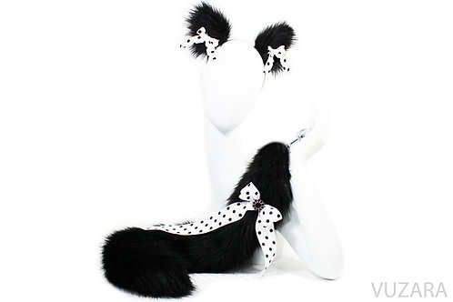 """28"""" Black/White Dot Tail & Ears Set"""