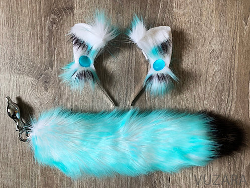 "17"" Teal/Black Ombre Tug Tail & Wired Ears Set"