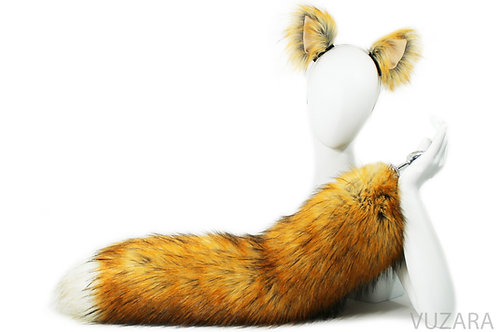 """28"""" Faux Fluffies Brown / Red Fox Tail & Ears"""