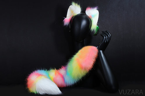 Rainbow Ombre Tail & Wired Ears Set