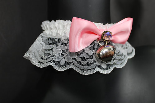 Pink & White Lace Collar with Bell