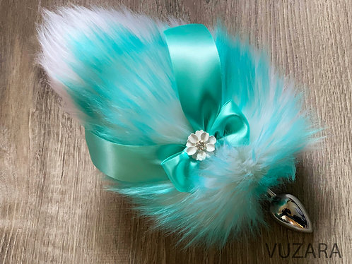 Teal Ombre Bunny Tail / Baby Fox Tail