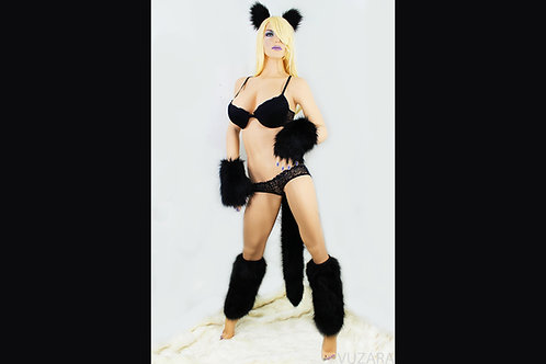 Black Cat Tug Tail Full Set - Ears, Paws, Tail, Leg Warmers
