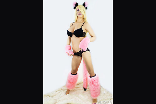 Pink/Black Full Set - Ears, Paws, Tail, Leg Warmers