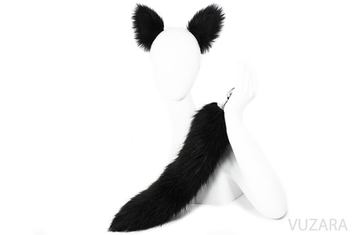 "17"" Faux Black Fox Tail Ears Set"