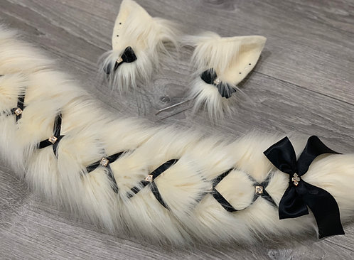 Creme & Black Corset Cat Tail & Ears Set
