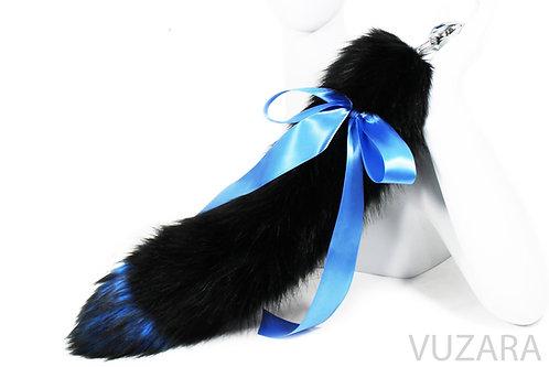 "20"" Faux Black/Blue Ribbon Tail"