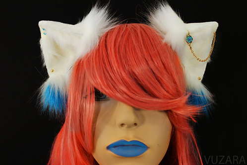 White & Blue Fox Ears / Cat Ears- Poseable