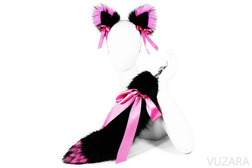 "20"" Faux Black Pink Ribbon Tail Ears Set"