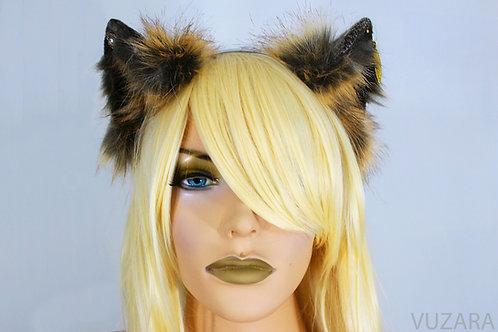 Brown & Tan Fox Ears / Cat Ears- Poseable