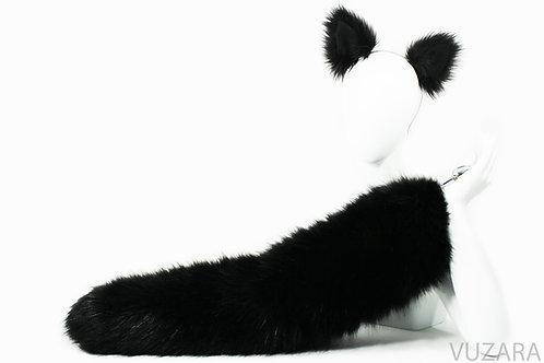 "28"" Faux Fluffies Black Fox Tail & Ears"