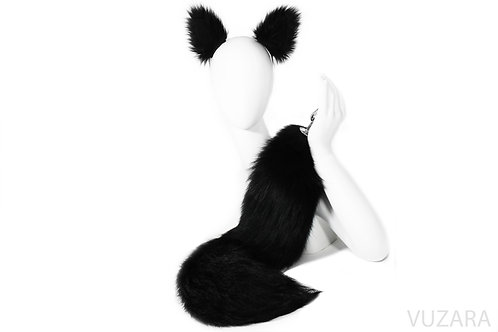 "27"" Dyed Black Tail & Ears Set"