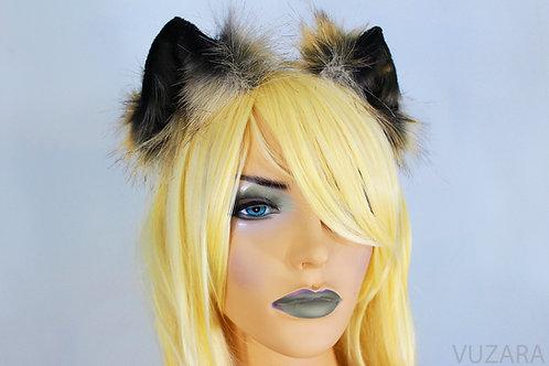 Mini Black & Tan Fox Ears / Cat Ears- Poseable