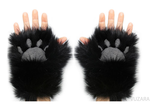 Black Open Finger Hand Paws
