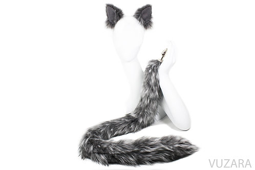 "40"" Mixed Grey Cat Tail & Ears Set"