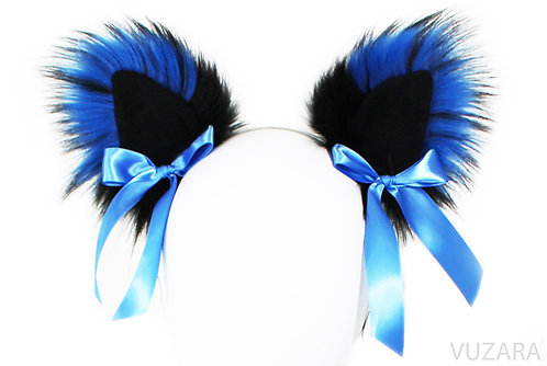 Black/Blue Ears with Bows