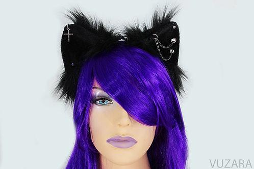 Black Spiked Fox Ears / Cat Ears- Poseable
