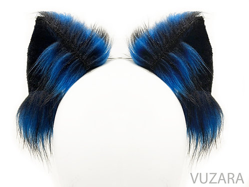 Blue & Black Fox Wired / Poseable Wolf Ears/ Cat Ears