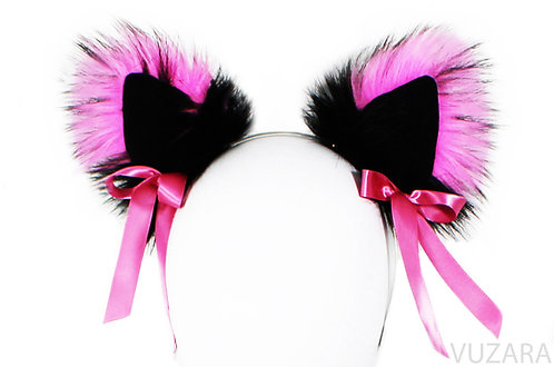 Black/Pink Ears with Bows