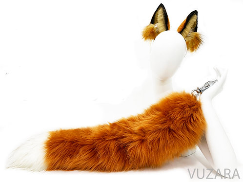 "28"" Faux Fluffies Rusty Red Fox Tug Tail"