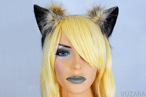 Black & Tan Fox Ears / Cat Ears- Poseable