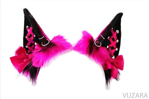 Black & Pink Corset Ombre Cat Ears / Fox Ears- Poseable