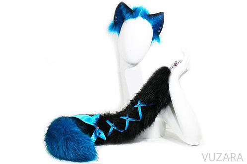 Blue / Black Ombre Tail &Ears Set