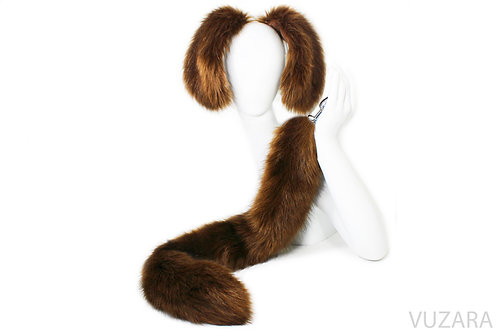"28"" Chocolate Lab Pup Tail & Ears Set"