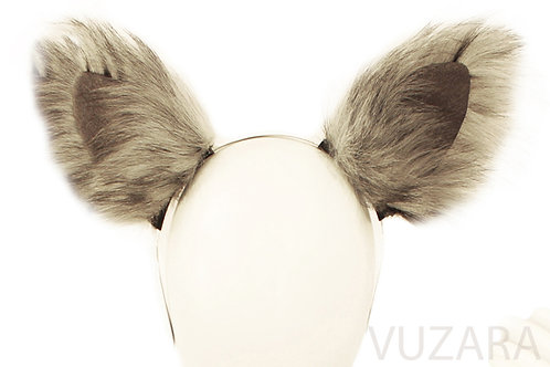 Faux Realistic Grey Fox Ears