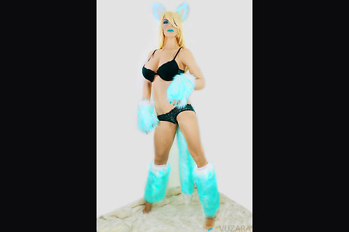 Teal Ombre Full Set - Ears, Paws, Tail, Leg Warmers