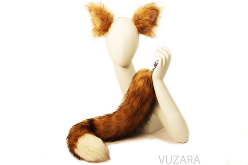 Faux Red Fox Tail and Ears Set