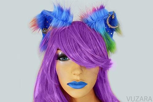 Rainbow Galaxy Fox Ears / Cat Ears- Poseable