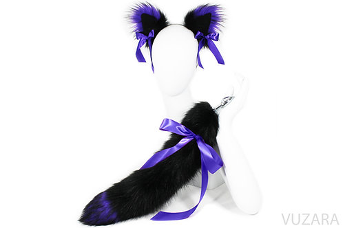 "20"" Faux Black/Purple Ribbon Tail Ears Set"