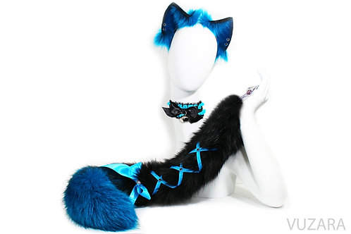 Blue / Black Ombre Tail & Ears Set