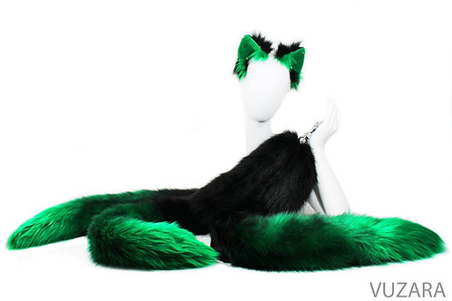 "3 Tailed Kitsune 40"" Faux Black/Green Fox Tug Tail Set"