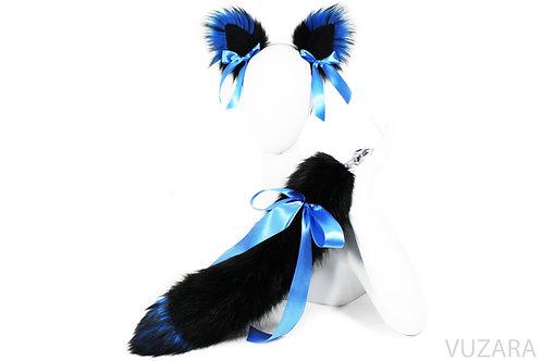 "20"" Faux Black/Blue Ribbon Tail Ears Set"