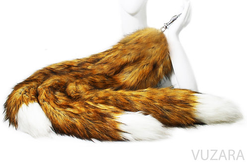 """3 Tailed Kitsune 40"""" Faux Red Fox Tug Tail"""